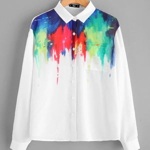 Tops - Pocket Front Painting Print Blouse